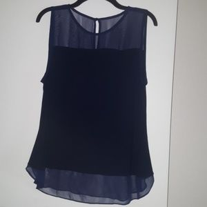INC Navy Top with Sheer Shoulders and Hem Size XL